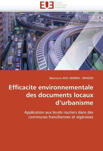 Efficacite Environnementale Des Documents Locaux D'Urbanisme 9786131520624