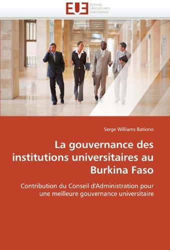 La Gouvernance Des Institutions Universitaires Au Burkina Faso