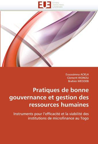 Pratiques de Bonne Gouvernance Et Gestion Des Ressources Humaines 9786131521683