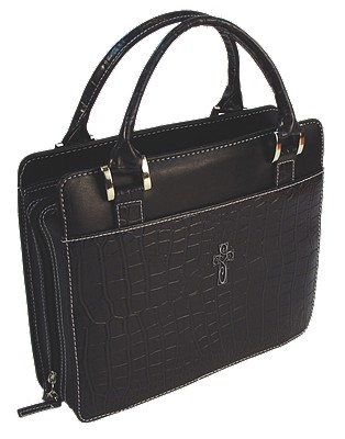 Purse with Silver Cross Crock Embossed Medium Black Bible Cover
