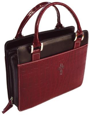 Purse Croc Embossed Large Burgundy Bible Cover