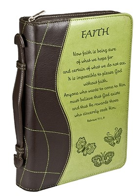 Hebrews 11:1, 6 Fabric Large Green Bible Cover