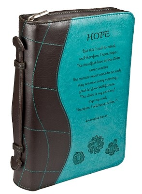 Lamentations 3:21-24 Leather Large Blue/Brown Bible Cover