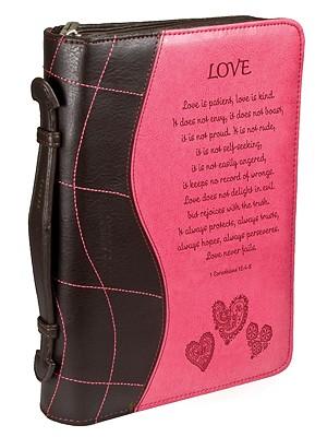 1 Corinthians 13:4-8 Fabric Large Pink/Brown Bible Cover