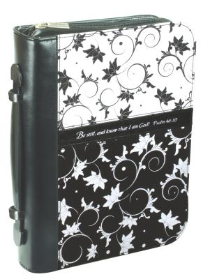 Psalm 46:10 Micro-Fiber Medium Black/White Bible Cover