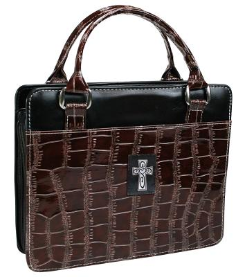 Purse with Silver Cross Crock Embossed Large Brown Bible Cover