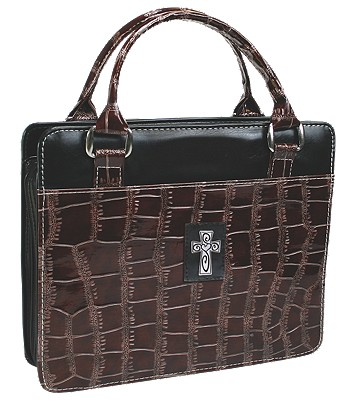 Purse with Silver Cross Crock Embossed Medium Brown Bible Cover