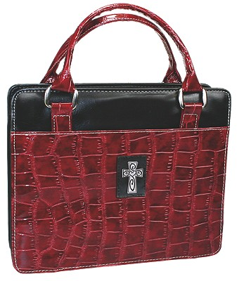 Purse with Silver Cross Crock Embossed Medium Burgundy Bible Cover