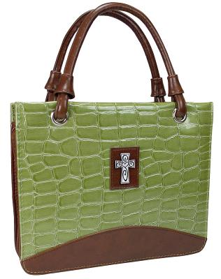 Purse with Silver Cross Crock Embossed Large Green Bible Cover
