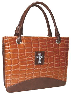 Purse with Silver Cross Crock Embossed Medium Orange Bible Cover