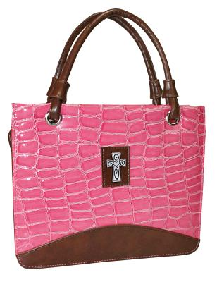 Purse with Silver Cross Crock Embossed Large Pink Bible Cover