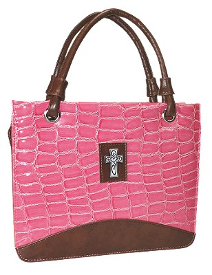 Purse with Silver Cross Crock Embossed Medium Pink Bible Cover