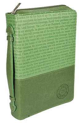 Psalm 23 Leather Medium Green/Dark Green Bible Cover