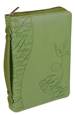 Faith Hope Love Leather Large Green Bible Cover