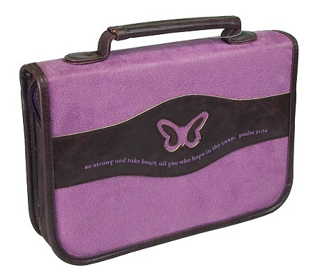 Butterfly Suede Medium Purple Bible Cover