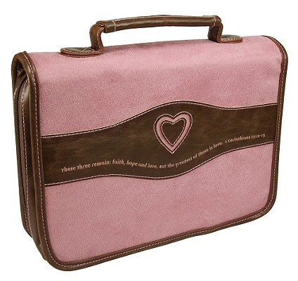 Heart Suede Large Pink Bible Cover