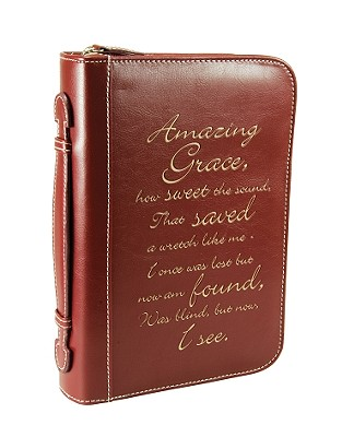 Amazing Grace Leather Large Burgundy Bible Cover