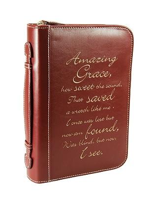 Amazing Grace Leather Medium Burgundy Bible Cover