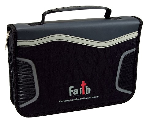 Faith Fabric Large Black Bible Cover