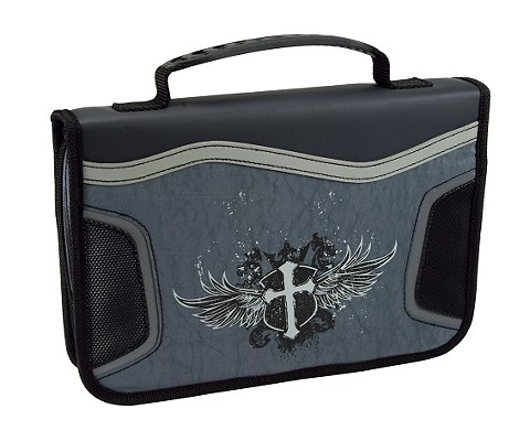 Cross Nylon Large Black/Gray Bible Cover