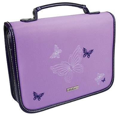 Butterflies Leather/Micro-Fiber Medium Lavender Bible Cover