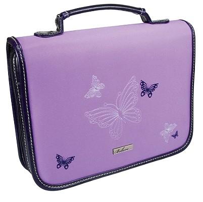 Butterflies Leather/Micro-Fiber Medium Lavender Bible Cover