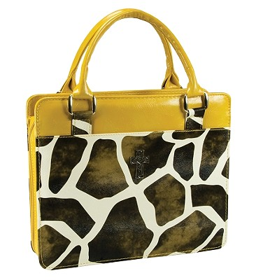 Safari Collection Giraffe Print Vinyl Large Yellow Bible Cover