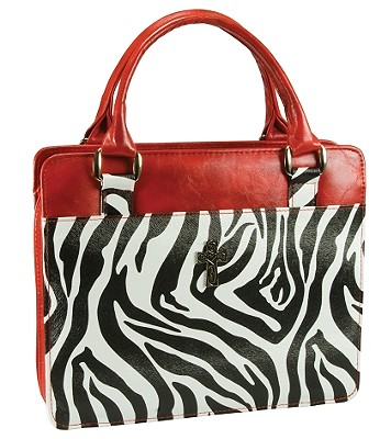 Safari Collection Zebra Print Vinyl Large Red Bible Cover