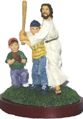 "Jesus and Baseball Resin Figurine-5.5"" Tall"