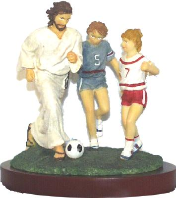 """Jesus and Soccer Resin Figurine-5.5"""" Tall"""