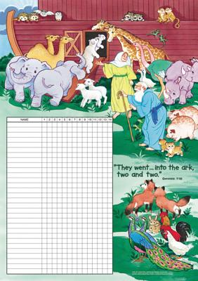 Noah & the Animals Attendance Chart: Each Features Room for 30 Names for Recording Attendance or Memory Work. Tinned Top and Bottom, with Two Tabs for