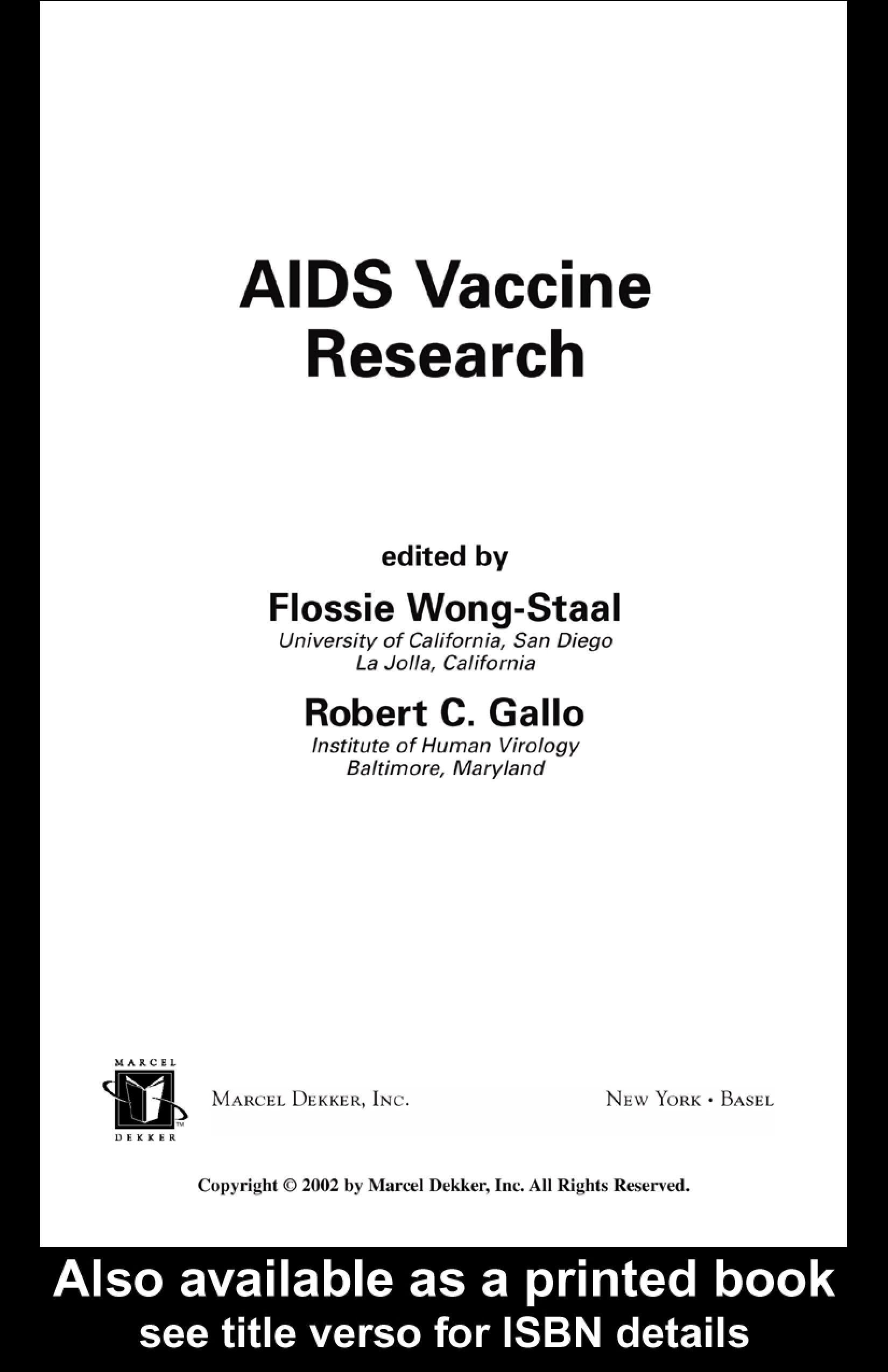AIDS Vaccine Research EB9780203908778