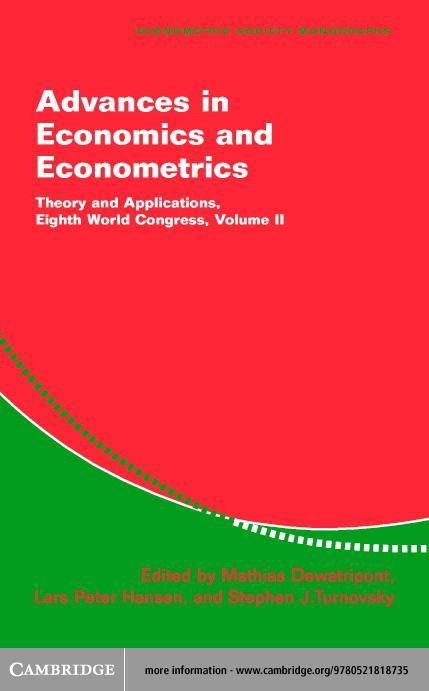 Advances in Economics and Econometrics Volume 2 EB9780511055119