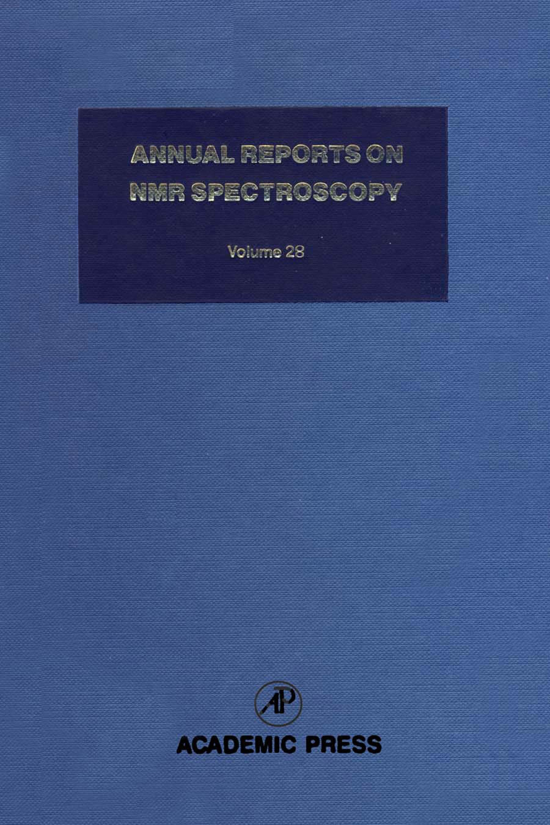 Annual Reports on NMR Spectroscopy: Volume 28