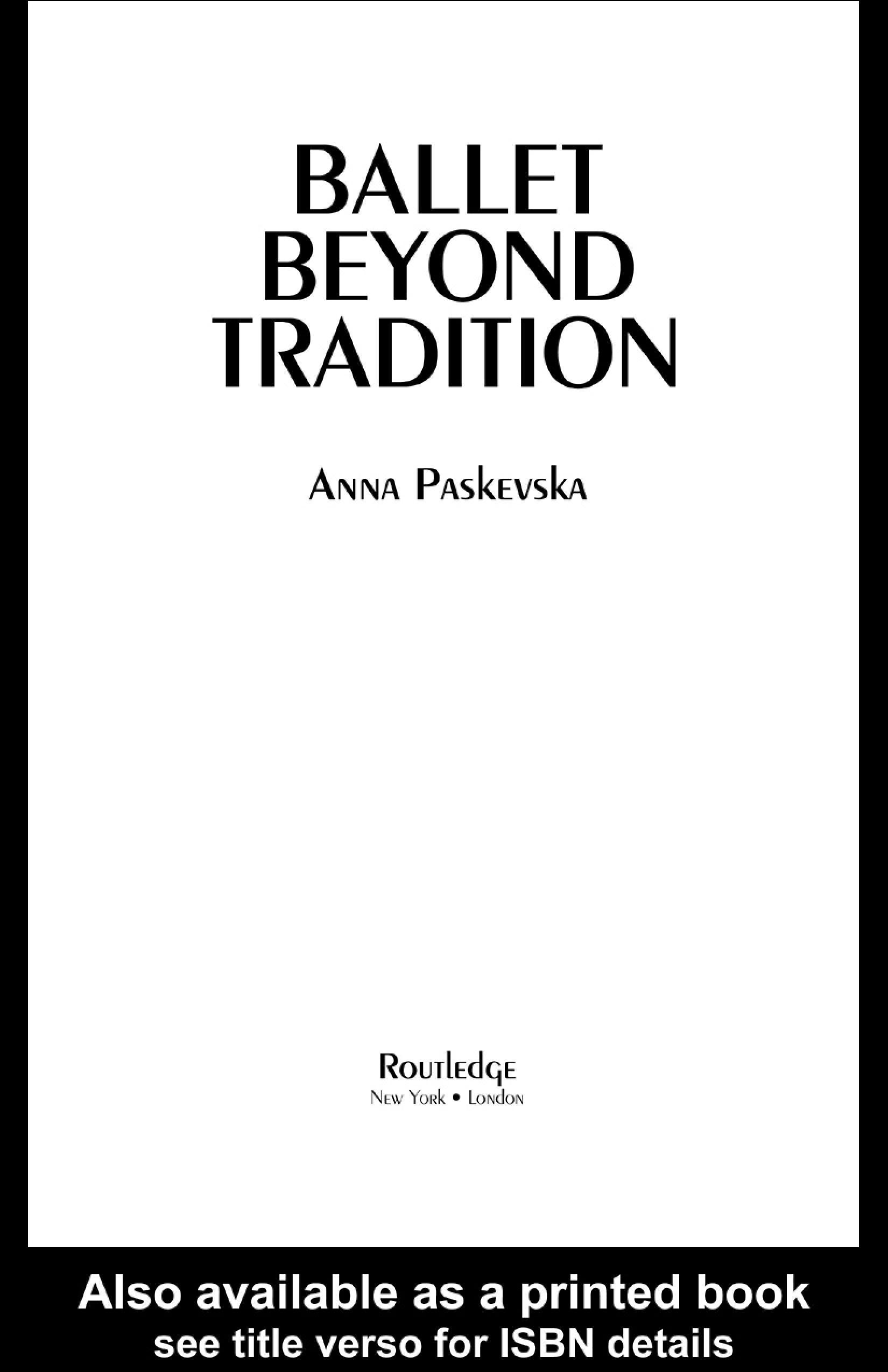 Ballet Beyond Tradition EB9780203997741