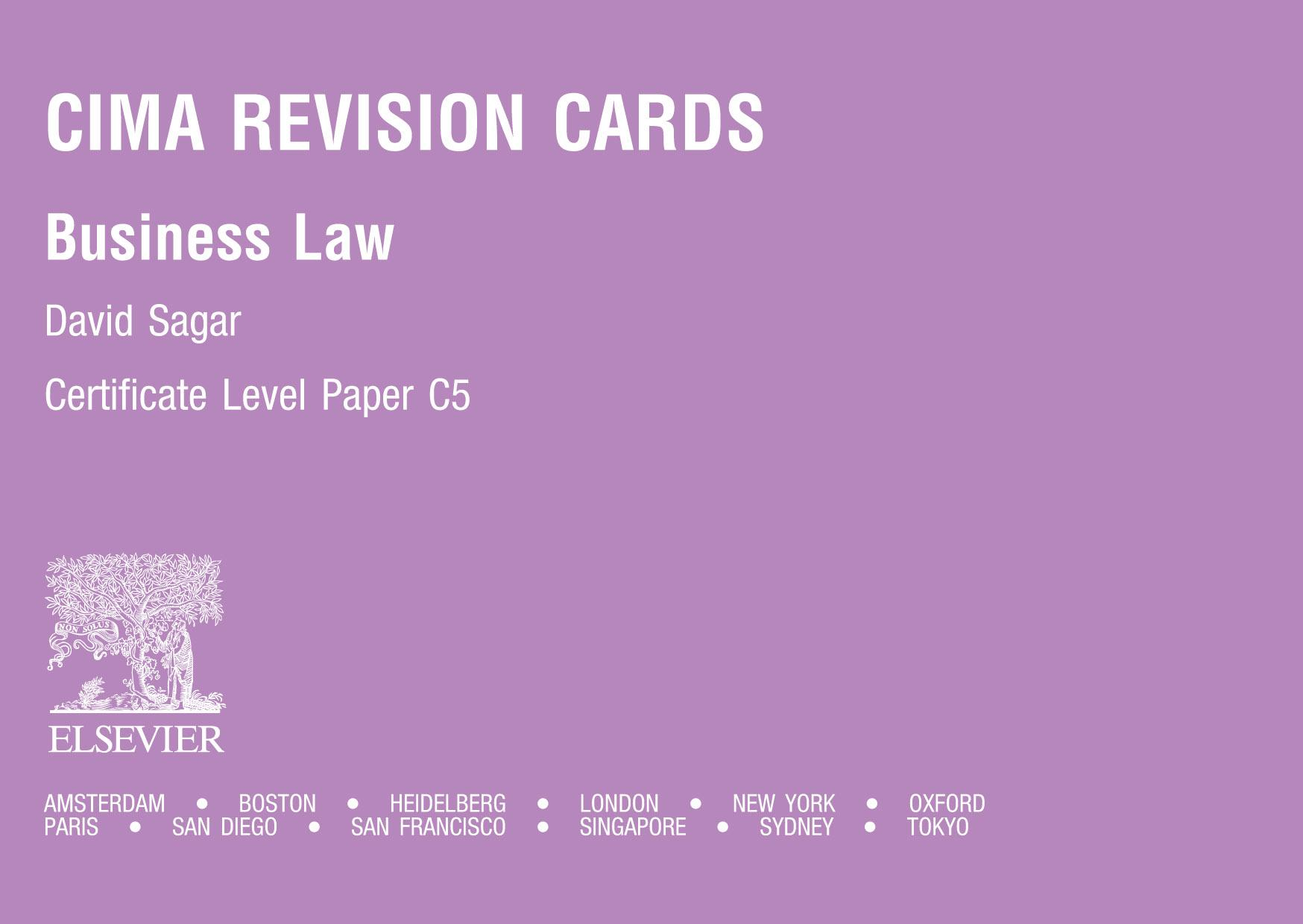 CIMA Revision Cards: Business Law