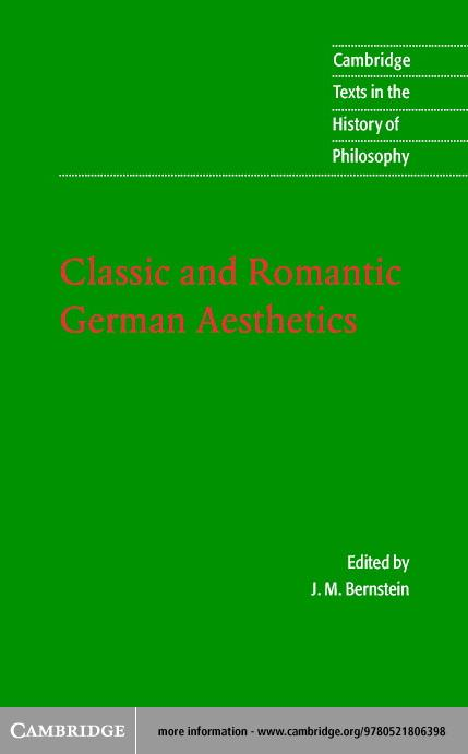 Classic and Romantic German Aesthetics EB9780511057434