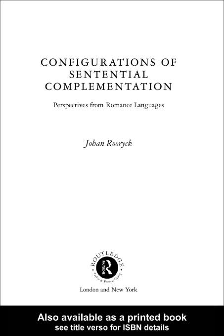 Configurations of Sentential Complementation EB9780203188880