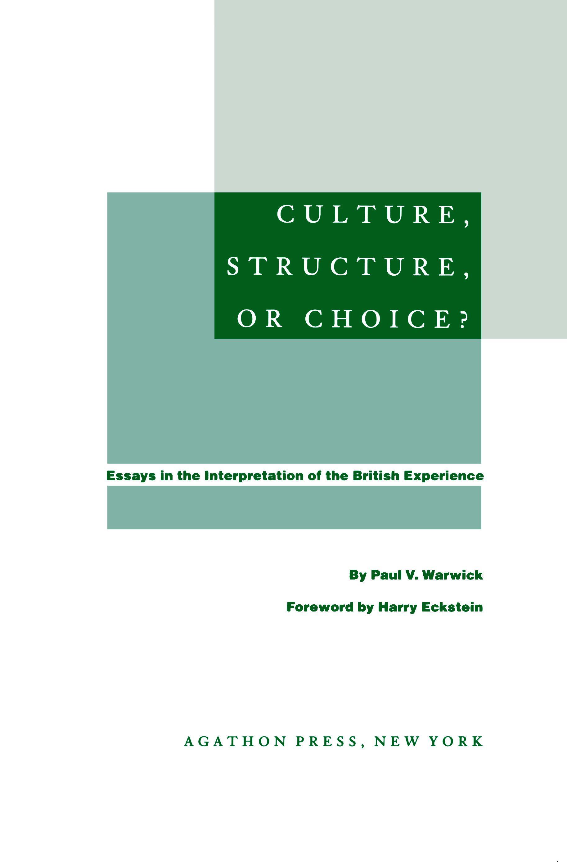 Culture, Structure, or Choice? (ebook) EB9780875862712