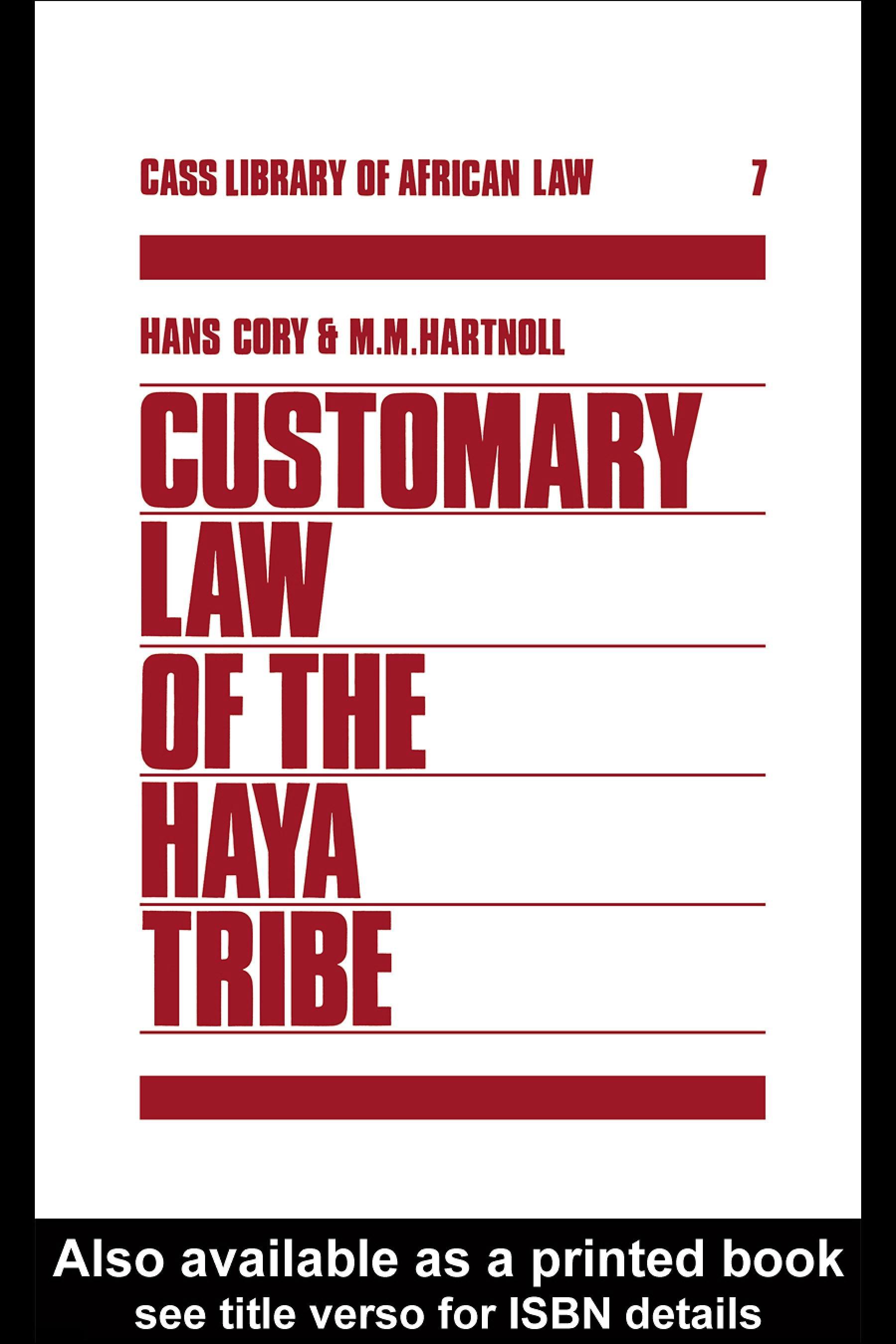 Customary Law of the Haya Tribe, Tanganyika Territory EB9780203988244