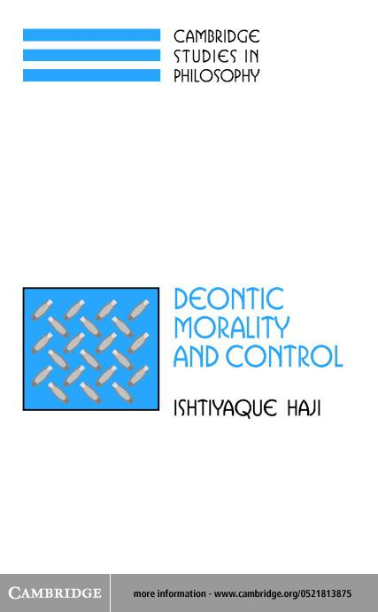 Deontic Morality and Control EB9780511030260