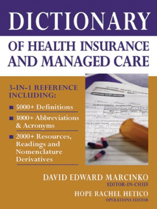 Dictionary of Health Insurance and Managed Care EB9780826149930