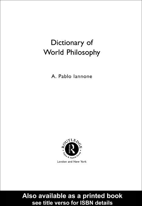 Dictionary of World Philosophy EB9780203187197