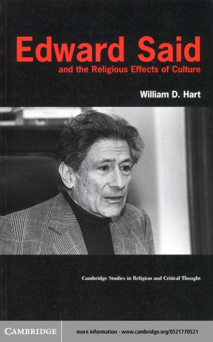 Edward Said and the Religious Effects of Culture EB9780511034107