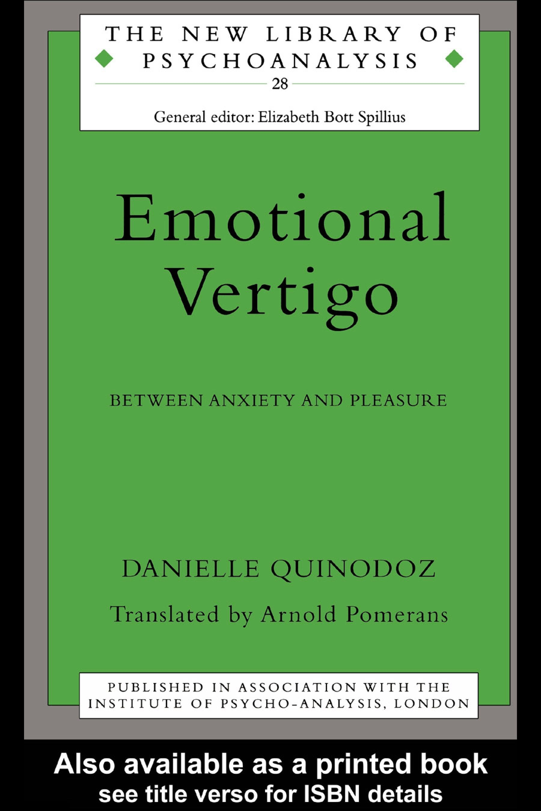 Emotional Vertigo: Between Anxiety and Pleasure EB9780203441039
