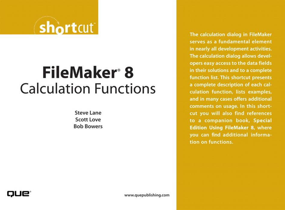 FileMaker? 8 Calculation Functions EB9780768668346