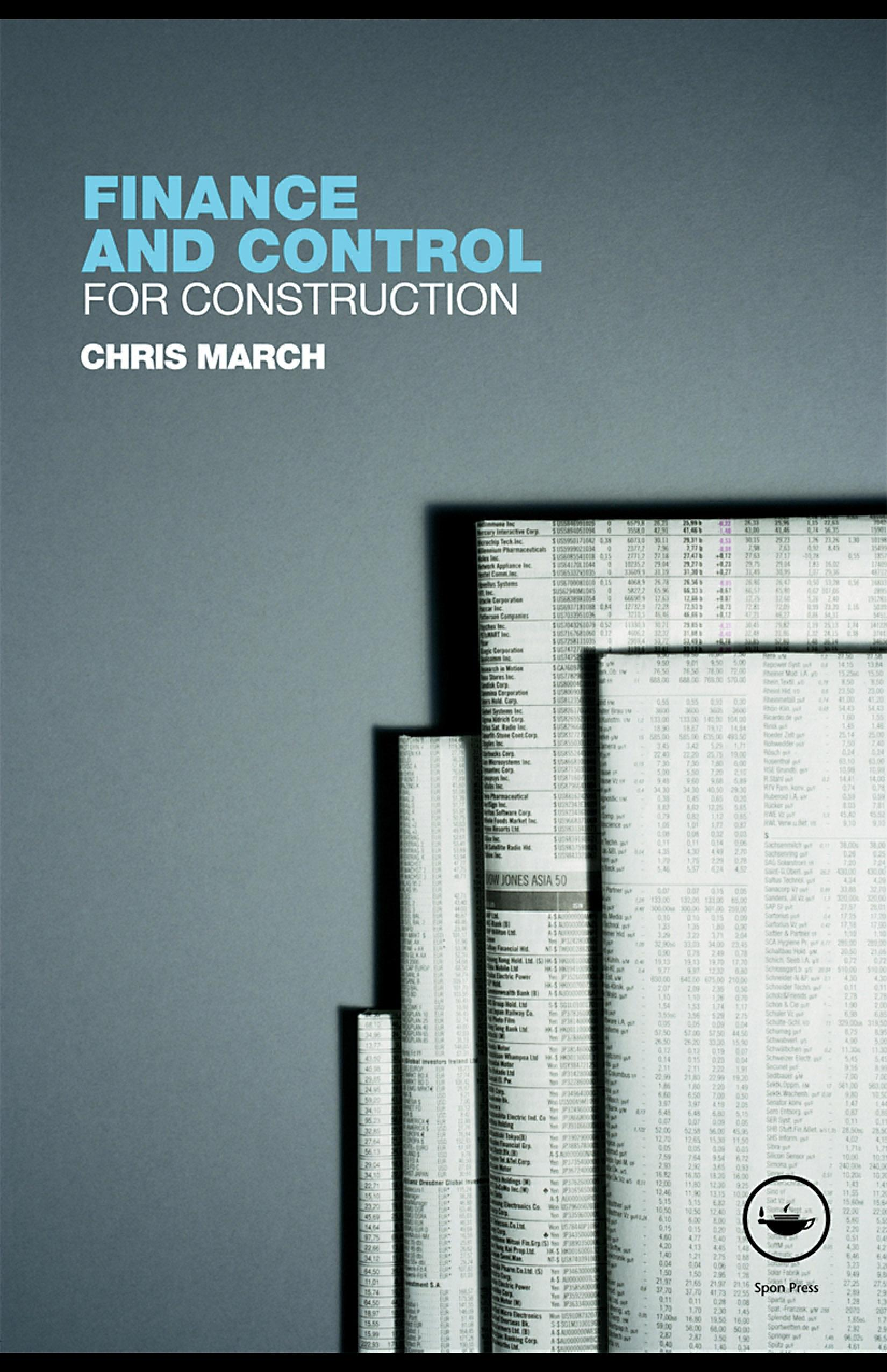 Finance and Control for Construction EB9780203928042
