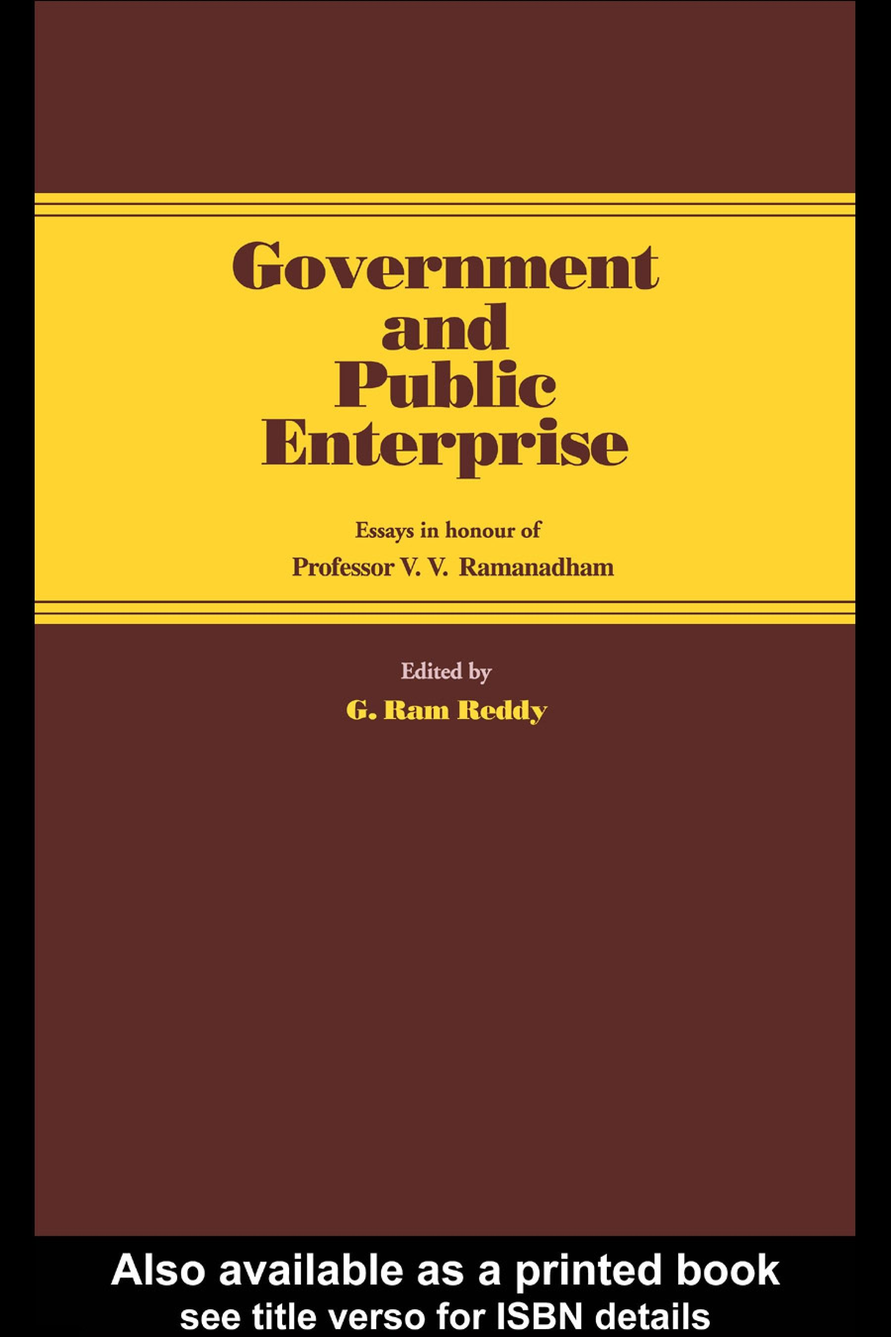 Government and Public Enterprise: Essays in Honour of Professor V.V. Ramanadham EB9780203988770