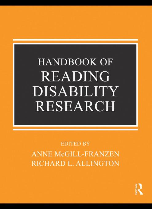 Handbook of Research on Reading Disabilities EB9780203853016