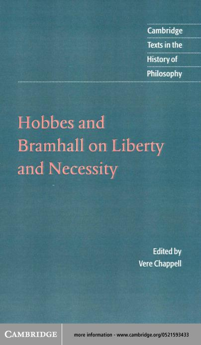 Hobbes and Bramhall on Liberty and Necessity EB9780511034930